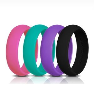 4 Pack Silicone Band Rings 5.5mm Size 6½